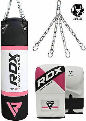 RDX 4FT Ladies Unfilled Heavy Punching Bag Set Women Punch Boxing Gloves Mitts F