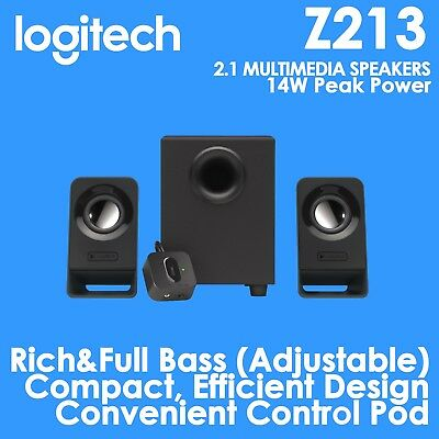 Logitech Z213 Compact Multimedia 2.1 System Desktop PC Speakers with Subwoofer