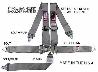 Rjs Racing Sfi 16.1 5Pt Latch & Link Harness Belt Roll Mount Bar Gray 1128607