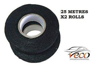 Self Adhesive Textile Cloth Fleece Harness Tape Wiring Loom 19Mm 25Metre X2 Roll