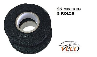 Self Adhesive Textile Cloth Fleece Harness Tape Wiring Loom 19Mm 25Metre X5 Roll