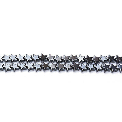 Strand Of 65+ Grey Hematite (Non Magnetic) 6mm Flat Star Beads GS12570-1