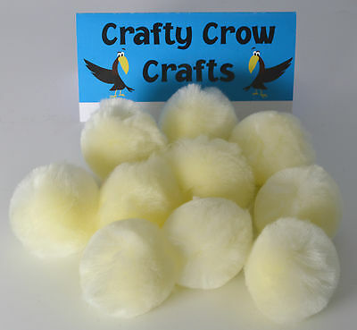 10 x  LARGE CREAM 50mm POM POMS