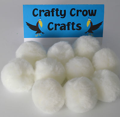10 x LARGE WHITE 50mm POM POMS