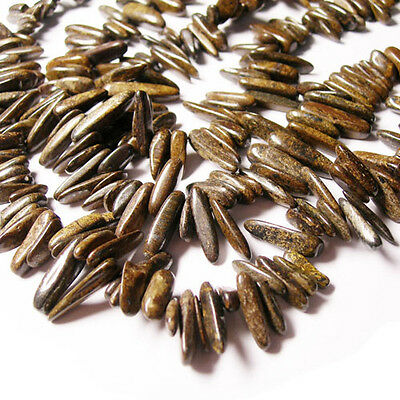Strand Of 85+ Brown Bronzite Approx 6 x 18mm Long Tooth Chip Beads GS3150