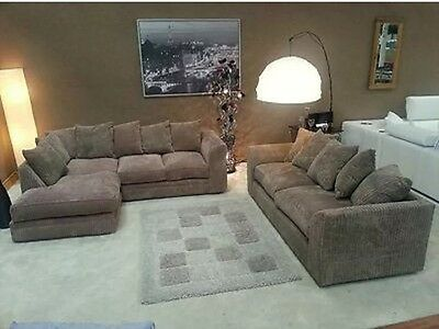 Dylan Jumbo Cord Coffee/biscuit Fabric Corner Group Sofa With Matching 3 Seater