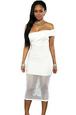 Abito cono aperto nudo trasparente aderente Midi Sheer Striped Bodycon Dress M