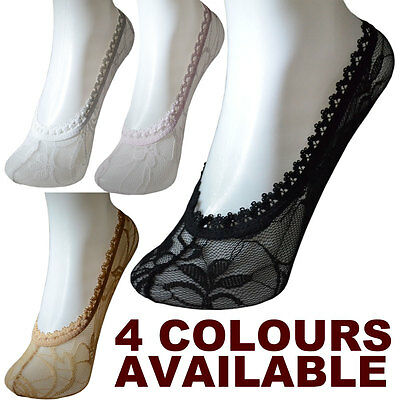 New Lace Womens Ladies Liners Ankle Invisible Socks Pop Black Nude/Beige Pink