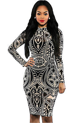 Abito cono aperto stampato aderente Nudo scollo gonna Print Mini Bodycon Dress M