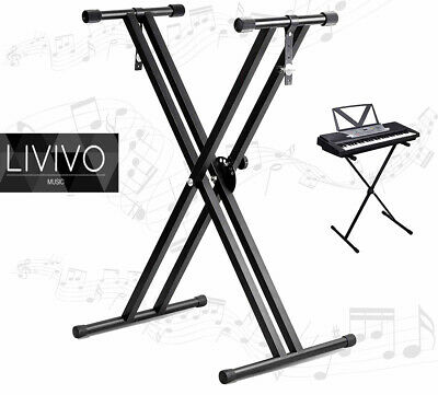 Livivo Keyboard Stand Folding Adjustable Double X Frame With Straps Music Black