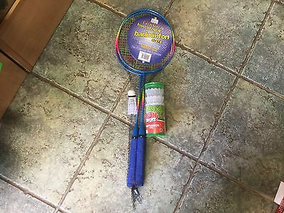 2 Player Badminton Set With Shuttle Cock Plus 4 Pack Spare Shuttle Cocks Outdoor