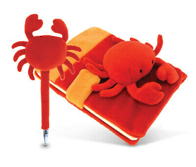 Puzzled Plush Red Crab Notebook and Pen