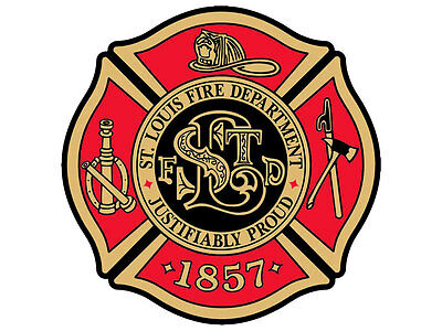 4x4 inch Maltese Cross Shaped ST LOUIS Fire Department Sticker -firefighter slfd