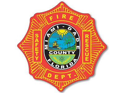 4x4 inch Round METRO DADE FIRE RESCUE Sticker - miami florida firefighter logo