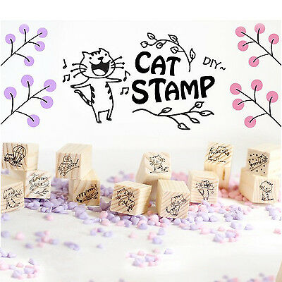 POP 12Pcs Vintage Cat Lace Wooden Stamp Letters Diary Craft Scrapbooking Gift