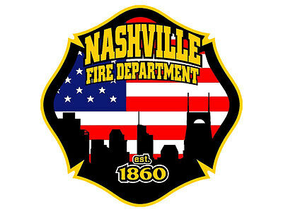 4x4 inch Maltese Shaped NASHVILLE FIRE DEPARTMENT Sticker - firefighter tn logo