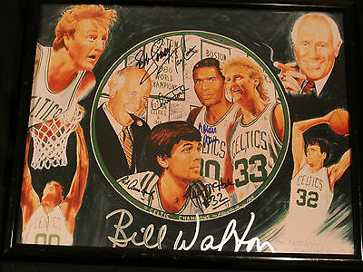 Boston Celtic Multi Signed Art Picture 5 Players, Coach And Owner Signed