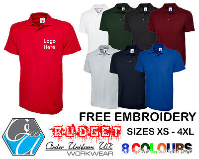 Personalised Embroidered Budget Polo Shirt Workwear, Uniform, Logo, Cheapest