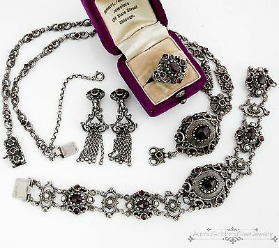 Antique Vintage Austro Hungarian Sterling 835 Silver Bracelet Necklace Ring Set!