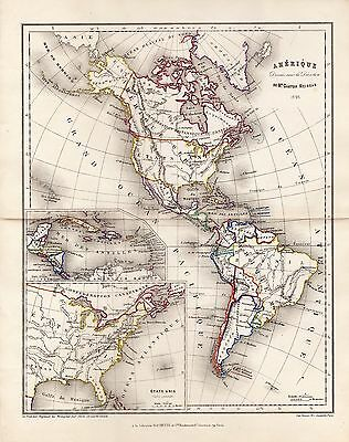 Map of North America and South America 1895 Meissas United States
