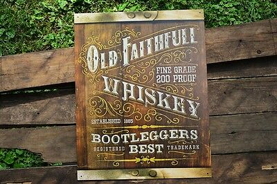 Old Faithful Whiskey Tin Metal Sign - Moonshine - Bootleggers Best - Hillbilly