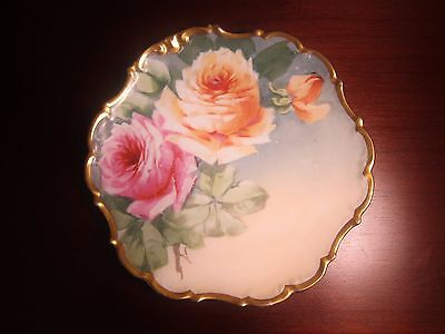 "Antique Limoges L.D.B.C Flambeau 10"" Plate Roses Signed by Artist"