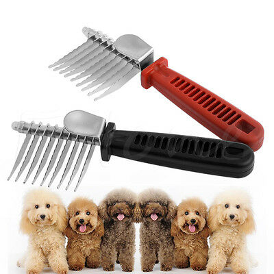 Pet Dog Cat Hair Fur Grooming Trimmer Flea Long Comb Brush Slicker Rake Tool