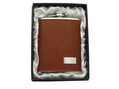 Brown Leather 8oz Hip Flask - Boxed - GREAT GIFT IDEA!