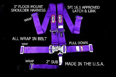 Rjs Racing Sfi 16.1 5Pt Latch & Link Floor Mount Harness Purple 1130408