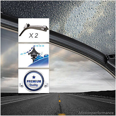 2 x Acquamax Front Windscreen Window Wiper Blades for Nissan Micra 2010> #53&35