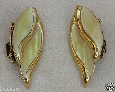 Vintage Butler Fifth Avenue Collection Mother Pearl Gold Plated Clip-on Earrings