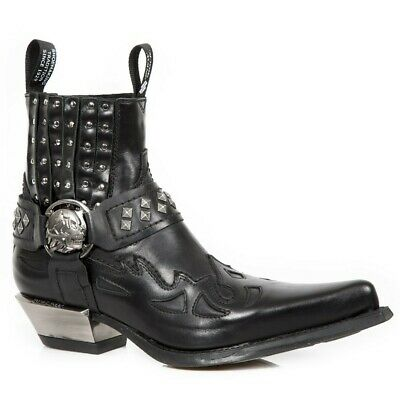 NEWROCK New Rock 7950-S1 Black Skull Strap Leather West Steel Heel Ankle Boots