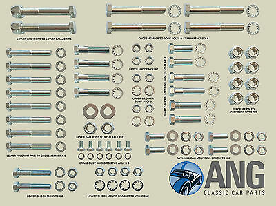 Sunbeam Alpine,singer Gazelle,hillman Minx Front Suspension Nut & Bolt Kit