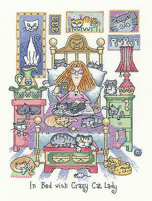 Heritage Crafts Cats Rule In Bed With Crazy Cat Lady Cross Stitch Kit