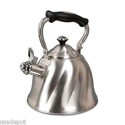 Mr Coffee Whislting Tea Kettle Hot Water Pot 2.3 Quart Brushed Stainless Steel