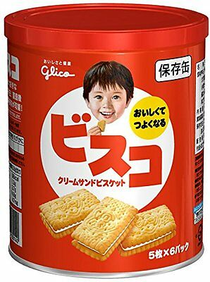 Ezaki Glico Visco Cookies 30 sheets × 10 Can runchy Cream Sand Biscuits Can o5