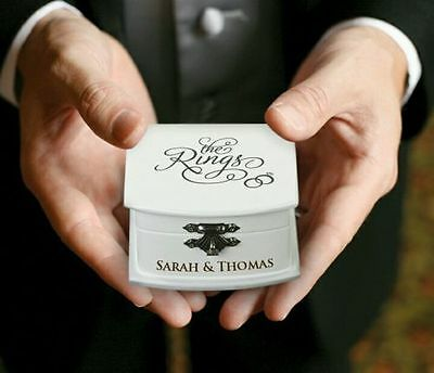 PERSONALISED White Wedding Ring Bearer Box Pillow Cushion Alternative Top Rated