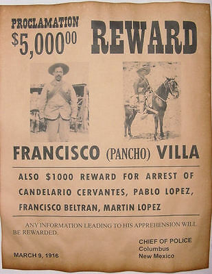 Francisco Pancho Villa Wanted Poster, Western, Mexican Outlaw, Old West, Bandit