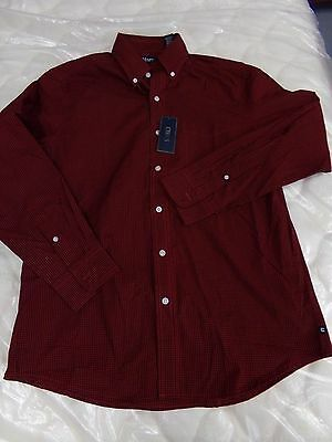 Mens Chaps Red & Black Checked Shirt Long Sleeve Button Up NEW MSRP $55.00