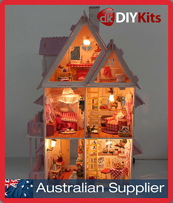Alice Dollhouse DIY Kit - LED lighting, furniture, stencils, materials, paint
