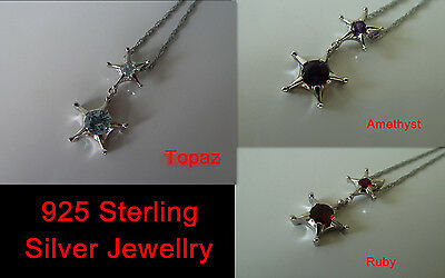 925 Sterling silver, natural stone pendant (Topaz/Amethyst/Ruby) Quality.star