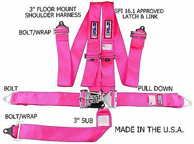 Rjs Racing Sfi 16.1 Latch & Link 5 Pt Floor Mount Harness Hot Pink 1131010