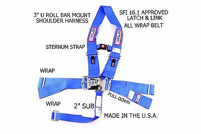 Rjs Sfi 16.1 5Pt  Latch & Link U Roll Bar Sternum Strap Belt Blue 1132803