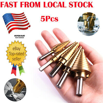 5Pc Titanium Coated Step Down Drill Variable Size Steel Bit Unibit Tool Set inUS