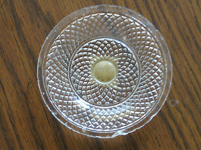 "Antique Eapg Glass Butter Pat  Very Interesting Design  3.5""   Eapg"