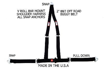 "Rjs  2"" Buggy Off Road Snap In Seat Belt 3 Point B&t V Harness Black 51520-Cse"