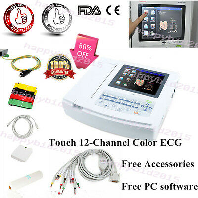 Promotion Touch screen 12 Channel ECG/EKG Electrocardiograph USB PC Software