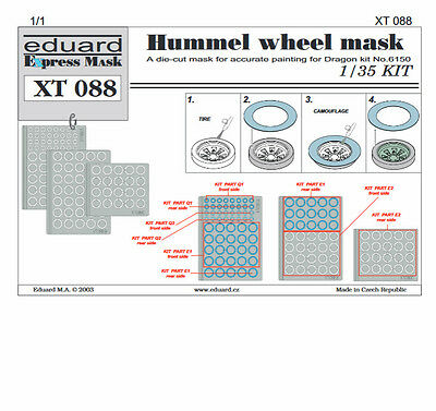 Eduard Xt 088 - Express Mask Mascherature Easy Painting 1/35 Hummel Wheel Mask