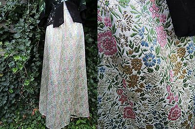 Vtg 60s Mod Silver Floral METALLIC Brocade Psychedelic SPACE AGE Maxi Skirt M