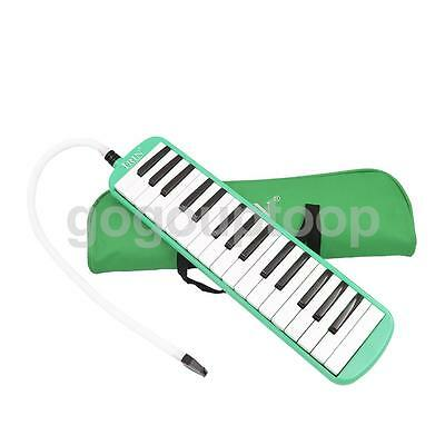 Green 32 Key Melodica Wind Piano Harmonica With Bag & Blow Tube Mouthpiece